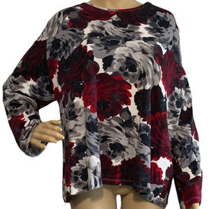 ($5) Long Sleeve Tee Roses Cotton Stretch Knit 3X